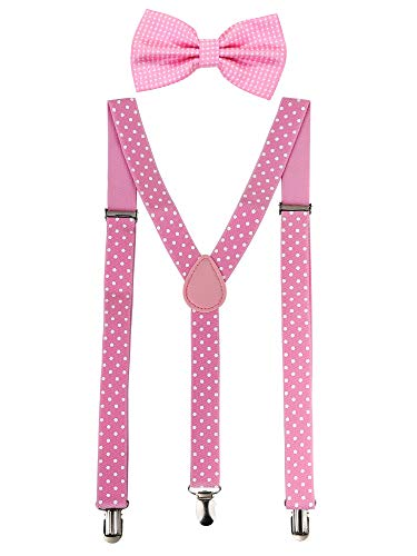 Suspender Bow Tie Set Clip On Y Shape Adjustable Braces, Pant Suspenders Shoulder Straps for Cosplay Party (Pink with White Dots)