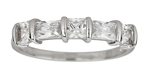 ette & Princess Cut 5 Stone Cubic Zirconia Anniversary Band Ring ()