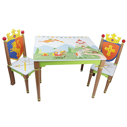 Fantasy Fields - Knights & Dragon Thematic Hand Crafted Kids Wooden Table and 2 Chairs Set | Imagination Inspiring  Hand Crafted & Hand Painted Details | Non-Toxic, Lead Free Water-based Paint