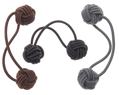L. Erickson Knotted Bauble Ponytail Holder 3-Pack - Neutral Combo ()