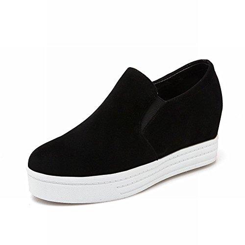 Latasa Kvinna Mode Nubuck Plattform Inne Kilklack Halka På Komfort Loafers Skor Svart