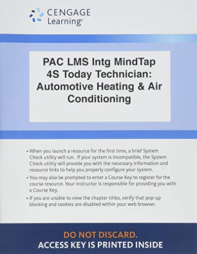 LMS Integrated MindTap Automotive, 4 terms (24 months) Printed Access Card for Schnubel's Today's Technician: Automotive Heating & Air Conditioning Classroom Manual and Shop Manual, - Manual Classroom Air Conditioning
