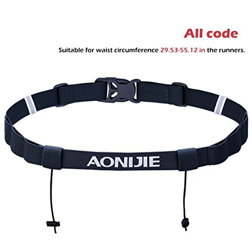 - TRIWONDER Runners Race Number Belt with 6 Loops for Triathlon, Marathon, Running, Cycling (Black)