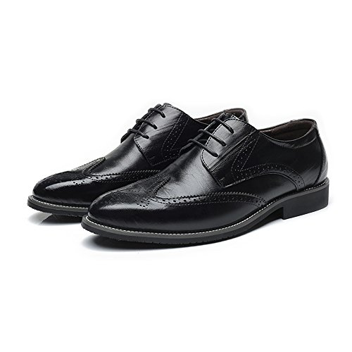 Carving ZX Brogue Traspirante Foderato Oxford comode Top Hollow up Wingtip Scarpe Uomo Business Vera Scarpe da Low Lace d'Affari in Nero Pelle aqrzxaw7HF