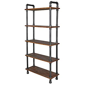 "Image of Barnyard Designs Furniture 5-Tier Bookcase, Solid Pine Open Wood Shelves, Rustic Modern Industrial Metal and Wood Style Bookshelf, 70.5"" x 29.5"" x 11.5"" Home and Kitchen"