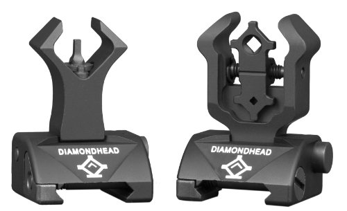 I.S.S. w/Diamond Front & Rear Sights (Black) (for POF .308 and Raised Rail Systems Only) - Folding Iron Sight (M16 Law Enforcement Knife)