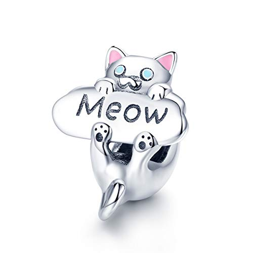 Everbling Naughty Cat Beads Meow Cat 925 Sterling Silver Bead Fits European Charm Bracelet