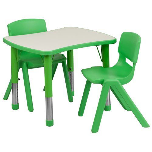 Blue 2 Piece Stack Chair (Flash Furniture 21.875''W x 26.625''L Rectangular Green Plastic Height Adjustable Activity Table Set with 2 Chairs)