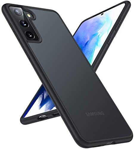 TORRAS Shockproof Designed for Samsung Galaxy S21 Case, [Military Grade Drop Tested] Translucent Matte Hard Back with Soft Edge Slim Protective Compatible for Samsung S21 Case Guardian Series, Black