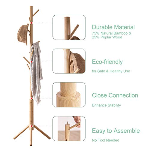 FILWH Bamboo Free Standing Coat Rack Stand, Adjustable Coat Tree with 3 Sections & 8 Hooks, Easy to Assemble Coat Hanger Stand for Bedroom, Office, Hallway, Entryway, Bedroom, Natural