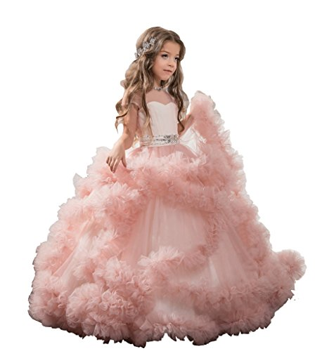 GreenBloom Stunning Flower Girl's Dresses Pageant Tulle Ball Gowns For Girls 2-16 Years 2 Blush Pink ()