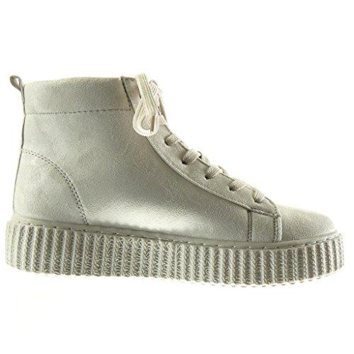 691ffaea69ae5d ... Angkorly - damen Schuhe Sneaker - Plateauschuhe - Hohe Keilabsatz high  heel 4 CM - Grau ...