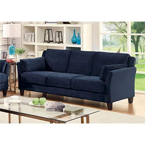 Furniture of America Trevon Contemporary Tufted Fabric Sofa in Navy