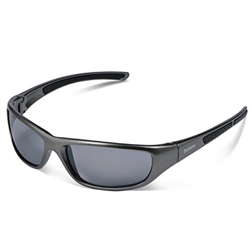 Duduma Tr8116 Polarized Sports Sunglasses for Baseball Cycling Fishing Golf Superlight Frame (Silver gray frame with black lens)