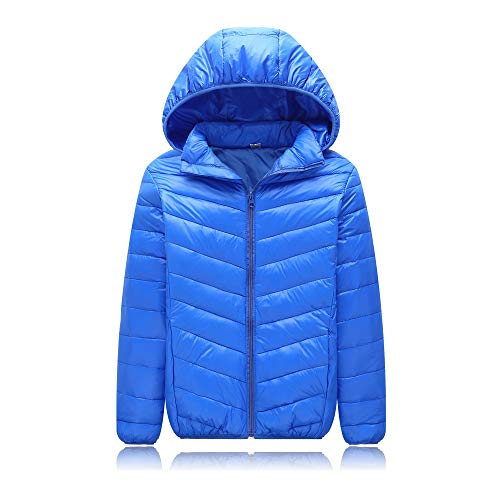 UGREVZ Unisex Big Girls Boys Light Winter Outerwear Teens Hooded Down Jacket Coat 9-13T(NS001Blue-10T) ()