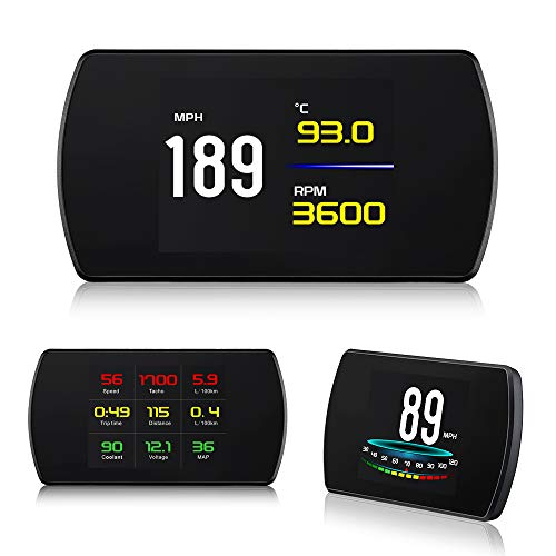 XYCING HUD Heads Up Display for Cars, Smart Digital Speedometer with TFT LCD HD Screen, OBD2 Code Scanner Speed Dashboard Display Turbine Pressure, Air-Fuel Ratio, Fuel Consumption, RPM, Speed Alarm