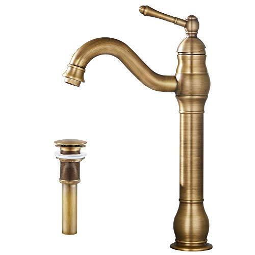 Yifinessyi 360° Swivel Single Handle One Hole Bathroom Vessel Sink Faucet Matching Pop Up Drain Without Overflow Antique Brass
