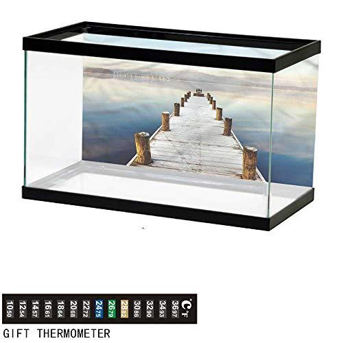 Suchashome Fish Tank Backdrop Seascape,Distant Hills Calm Scenery,Aquarium Background,48