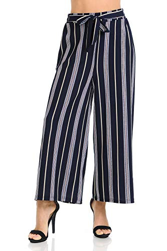 Stripe Gaucho Pants - Auliné Collection Womens Wide Leg High Waisted Cropped Palazzo Pants Culottes - Pastel Navy Stripe OS