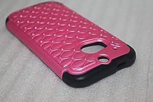 Solid Crystal Bling Hybrid Bumper Cover Hard Gel Case for Htc One 2 M8 (LIGHT PINK)