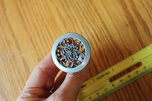 - 1 Brass Knob Cabinet drawer pull silver tone round flower scroll Vintage style
