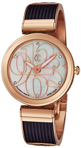 Charriol Forever Mixed Numerals Womens Watches Rose Gold Stainless Steel - 32mm Analog Mother of Pearl Face Ladies Dress Watch - Purple Twisted Cable Bracelet Luxury Swiss Watch For Women ()
