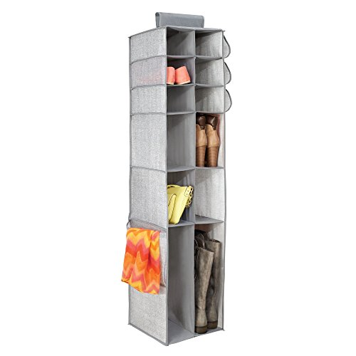 ng Closet Storage Organizer, for Shoes, Boots, Handbags, Clutches - 16 Compartments, Gray ()