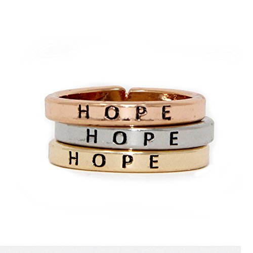 Me Plus Inspirational Positive Message Engraved Thin Finger Opening Rings 3 in 1 Set -28 Diff-Phrases