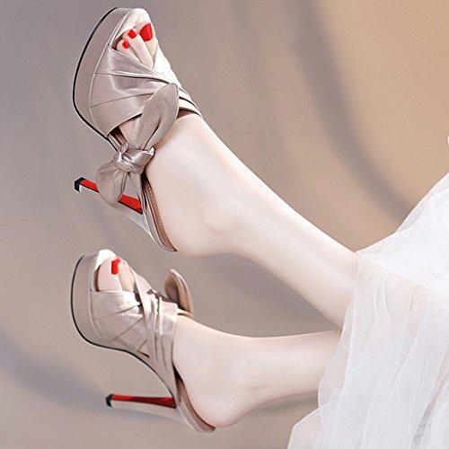Tamaño Color para Apricot Mujer 34 Tacones Sandalias Zapatillas Color mujer HWF Zapatos Apricot Color de Aguja Verano Uwdxq4Oqc7