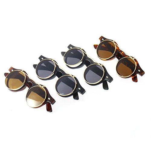 Gafas Steampunk Mujeres Sol Lente de Para Sunglasses Redondo Up Fansport Gafas Leopard Redondas Flip xA80qnS