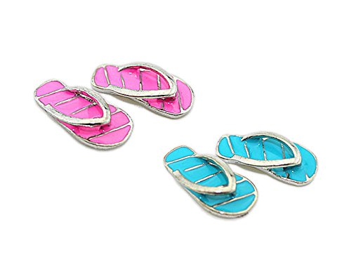 CULER 2 Pairs 1:12 Dollhouses Miniature Fairy Garden Beach Flip Flops - Alloy Mini Striped Slippers