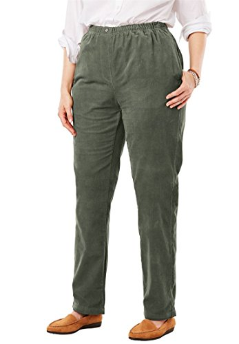 Woman Within Plus Size Comfort Waist Straight Leg Corduroy Pant - Sage Grass, 28 W
