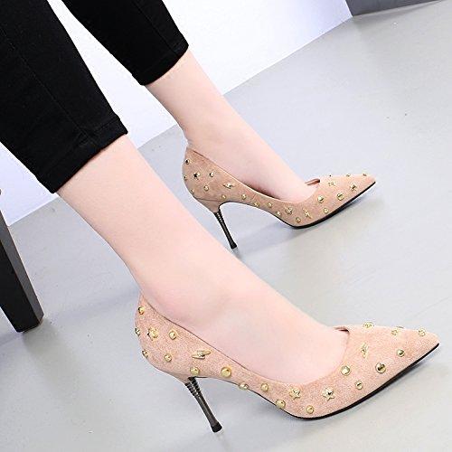KHSKX-La Primavera De Nueva Sexy Zapatos De Tacon Alto 9 Cm Beige Sharp Solo Zapato Tacon Fino Remache Superficial Y Mujeres Zapatos Moda Beige