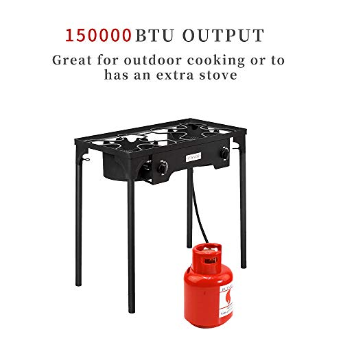 ROVSUN 2 Burner Outdoor Propane Gas Stove High Pressure, Stand Cooker for Backyard Cooking Camping Home Brewing Canning Turkey Frying, 20 PSI CSA Listed Regulator ()
