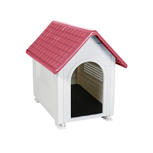 LAZZO Plastic Dog House 28″ Height Ventilate Pet Kennel with Air Vents and Detachable Sturdy Floor,for Home,Backyard, Patio,Balcony
