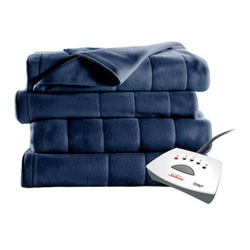 #1 Selling Sunbeam Heated Fleece Electric Blanket in a Twin Size. A Long 10 Hour Shut Off with a 6 Foot Cord Makes It an Ideal Buy in Bedding. Dont Overpay for a Throw, Get a Bigger Warming Fleece Blanket with Better Technology!!! (Royal Blue) (Electric Fleece Blanket)