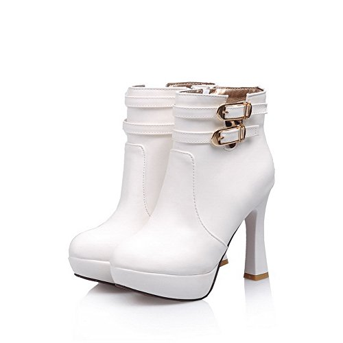 Heels Boots and B Solid 5 AmoonyFashion Womens US Material Zipper M with Soft PU PU 6 High Metalornament White Ea8waxCq