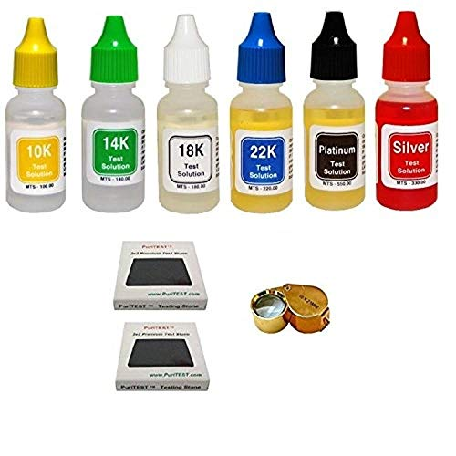 Gold Testing Kit - PuriTEST Brand 9 PC. GOLD SILVER PLATINUM TESTING KIT ACID TEST JEWELRY-LOT-LOUPE