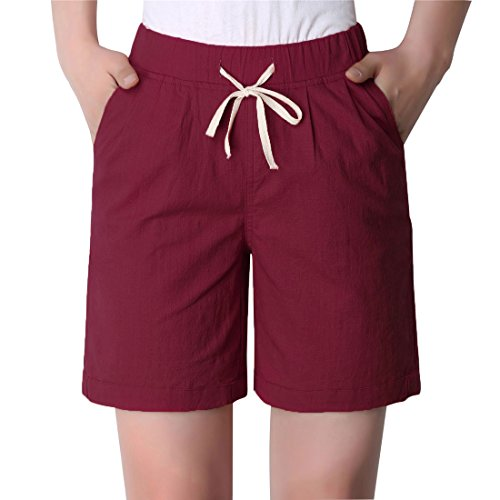 Chartou Women's Modest Loose Elastic-Waisted Bermuda Drawstring Casual Shorts (Large, Wine)