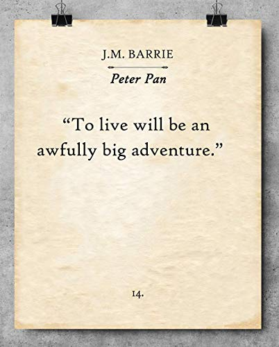 Peter Pan Book Page Art To Live Will Be An Awfully Big Adventure Print