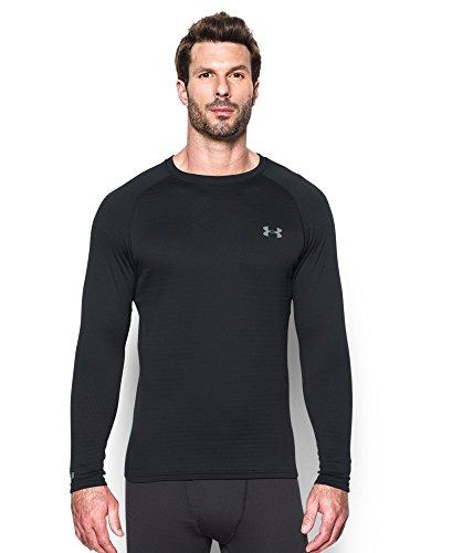 Under Armour Men's UA 2.0 Crew Neck Base Layer Shirt  - Medium - Black/Steel