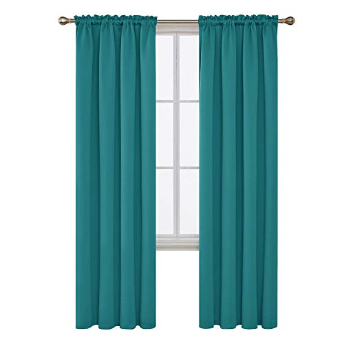 Panel 84l (Deconovo Turquoise Blackout Curtains Rod Pocket Curtain Panels Room Darkening Curtains for Bedroom 52W x 84L Inch 2 Panels)