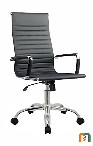 Mastery Mart Office Chair Ribbed Soft PU Leather Tilt Adjustable Swivel Eames Chair with Padded Armrests (Black, High-Back