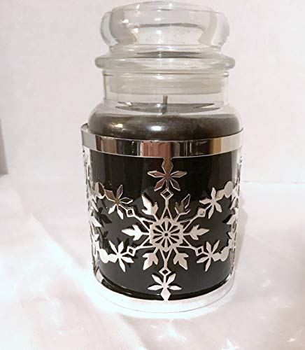 Yankee Candle New Frosty Collection Silver Snowflake Metal Jar Candle Holder Sleeve ()