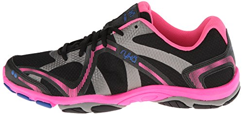 RYKA Women's Influence Training Shoe,Black/Atomic Pink/Royal Blue/Forge Grey,5 M US