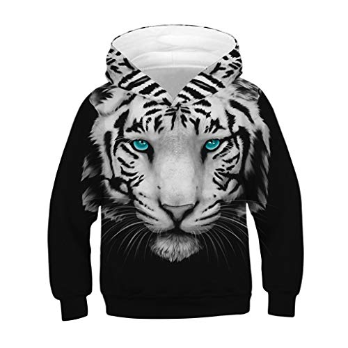 (Drindf Baby Clothes Teen Kids Toddler Boy 3D Tiger Print Cartoon Long Sleeve Sweatshirt Pocket Pullover Hooded )