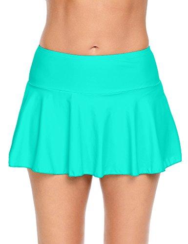 Lookbook Store Women's Cyan Bikini Bottm Swim Skirt Swimsuit XXL (US (Green Womens Skirt Suit)