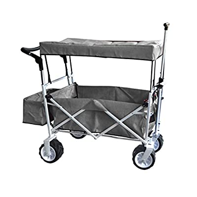 Grey Jumbo Wheel Push and Pull Handle Folding Wagon All Purpose Garden Utility Beach Shopping Travel CART Outdoor Sport Collapsible with Canopy Cover Free ICE Cooler Bag Easy Setup NO Tool Necessary: Toys & Games