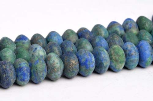 8x5mm Natural Matte Azurite Grade Rondelle Gemstone Loose Beads 15.5'' Crafting Key Chain Bracelet Necklace Jewelry Accessories Pendants