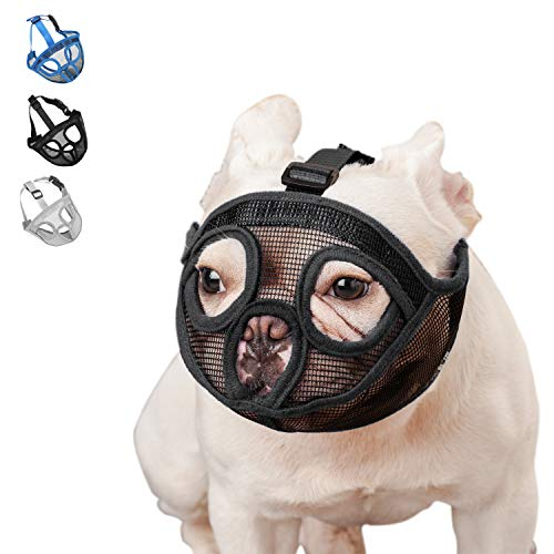 wintchuk Short Snout Dog Muzzle Mesh Mask-Stop Dog for Biting Barking Chewing, Adjustable(XL, Black)